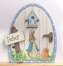 Handpainted Personalised Peter Rabbit Fairy Door Pixie Gift Skirting Board Decor