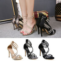 Ladies Womens Diamante Strap Peep Toe Sandals Glitter High Heel Party Prom Shoes