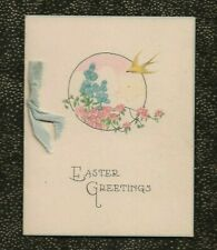 ANTIQUE 1920's Art Deco EASTER Card CANARY Flowers CLOUDS Blue Silk Ribbon