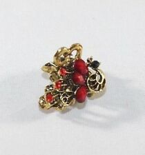 Brand New 3D Gold Tone Vintage Peacock Hair Clip Claw w/Red Crystals