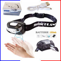 Lampe frontale rechargeable usb accu frontal  puissante  batterie torche led vue