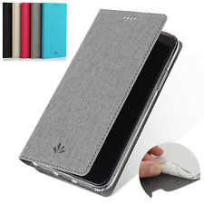For Nokia 6 8 Sirocco 7 Plus 5.1 6.1 Flip Canvas Leather Card Pocket Case Stand