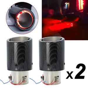 2X Universal Auspuff Endrohr Auspuffblende Für 35-63mm Carbon Fiber Rotlicht  DE