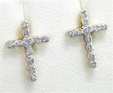 22 Diamond 9ct 9K Solid Yellow Gold Stud Cross Earrings - 30 Day Returns
