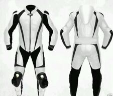 *MOTORCYCLE LEATHER WHITE/BLACK RACE 1PIECE SUIT- CE APPROVED-ALL SIZES*