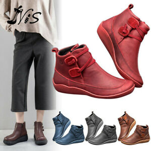 Women's Arch Support Ankle Boots Multi Styles Colors Wedge Flat Sneakers Sho