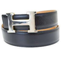 Authentic HERMES Constance H Buckle Men's Belt Leather Black #85 France 88AC130