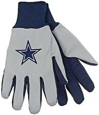 DALLAS COWBOYS ADULT 1-SIZE 2-TONE GRAY/BLUE UTILITY/WORK GLOVES WITH STAR LOGO