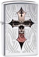 "Zippo Gothic Lighter ""Skull Cross"" No 28874 on highly polished chrome - New"