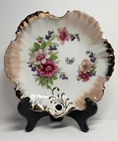 """Vintage 8 1/4"""" Ceramic/Porcelain Round Bowl with Floral Pattern and Gold Trim"""