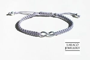 LARACO JEWELLERY - Sterling Silver Infinity Charm Friendship Knot Cord Bracelet