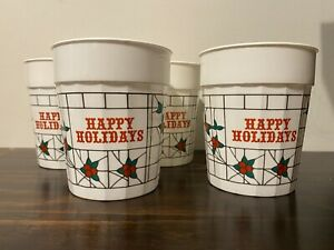 Vintage Style Happy Holidays Plastic Holly Print Christmas Cups Set of 4