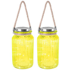 Set of 2 Solar Glass Lantern With Rope Handle 20 LED Lamp Garden Lighting Yellow