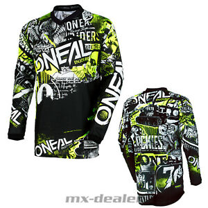 2021 O'Neal Element Enfants Jersey Attaque Noir Tricot MX Dh MTB BMX Motocross