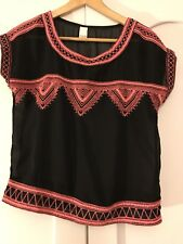 Villa Black And Pink  Sheer Blouse Top Size Extra Small  Uk Size 6 Boho Hippy