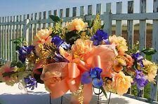 Peach Uterine Orange Leukemia Cancer Cemetery Headstone Flowers w/ Purple Iris