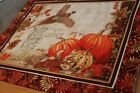 Rust Orange Red Floral 25 x 20 Handmade Quilted Table Runner