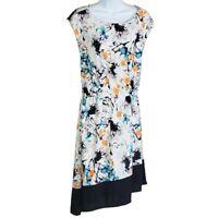 Robert Rodriguez Women's Dress CEIL Watercolor Floral Sz S Elastic Waist Stretch
