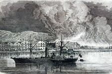Aspinwall Pennsylvania 1866 GREAT FIRE STEAMBOAT Matted Antique Print Engraving