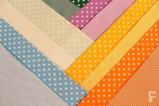 100% COTTON PRINT FABRIC - 5 mm SPOTS & 3 mm STRIPES - MATCHING COLOURS