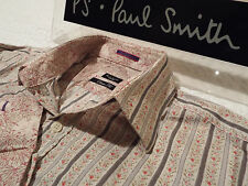 "PAUL SMITH Mens Shirt 🌍 Size 15"" (CHEST 40"") 🌎 RRP £95+ 📮 FLORAL STRIPES"