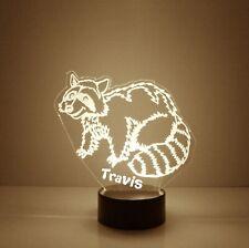 Raccoon, Personalized Night Light Lamp, 16 Colors LED, Desk Lamp Bedroom Decor