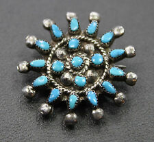 Handmade Signed Sterling Silver Turquoise Pin/Brooch