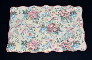 Vintage Beige w Multicolor Flowers Fruit Scalloped Cotton Pillow Sham 27 x 43