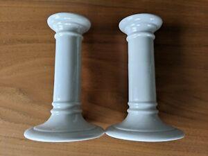 Candlesticks - ceramic beige - 15cm tall - very little use