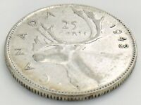 1943 Canada Twenty Five 25 Cents Quarter Canadian Circulated George VI Coin J661