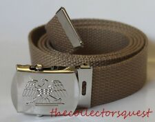 "NEW EAGLE ADJUSTABLE 52"" INCH KHAKI CANVAS MILITARY GOLF WEB BELT CHROME BUCKLE"