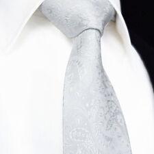 Cravatta Da Uomo - Pure Matrimonio Bianco - Motivo Cachemire Seta & Floreale