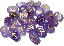 Purple Natural Amethyst Stones Rune Set Healing Reiki Tumble Stones 25 PC