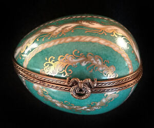 Limoges Box Green White and Gold Egg Lot 1078