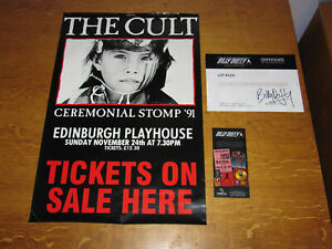 THE CULT - EDINBURGH PLAYHOUSE CEREMONY TOUR PROMO POSTER - OWNED BY BILLY DUFFY