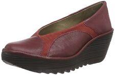 Fly London NIB YANI Comfort Wedge Leather Pump Shoe Sz 38 ~ 7 Dark RED Wine $200