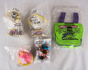 Lot of 5 Toy Prizes from Pizza Hut, Hardees, and Burger King, New in Bags, TMNT+