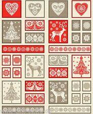 Makower Christmas Panel Scandi Patchworkstoff Stoffe Weihnachten Weihnachtsstoff