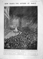 Old Antique Print 1907 New Year St. Paul'S Cathedral London Bovril Drink 20th