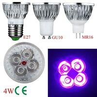 Mini 4W 5W E27 GU10 MR16 UV LED Ultraviolet Spotlight Lamp Bulb AC 85-265V /12