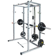 Fitness Power Rack w/Lat Pull Attachment Weight Holder Exercise  ,Squat Cage