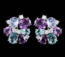 100% NATURAL 12X8MM RAINBOW MOONSTONE TOPAZ & AMETHYST RARE SILVER 925 EARRING
