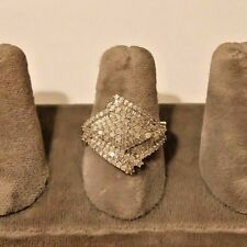 STERLING SILVER 1 CARAT PAVED DIAMONDS COCKTAIL RING. SZ 8.