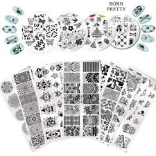 Born Pretty Para Uñas Stamping Placas geometría de Flor Mariposa las plantillas de imágenes