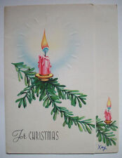 Victorian candle ornament on tree branch Vintage Christmas greeting card G*