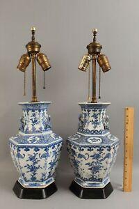 Antique Pr Chinese Republic Period Export Blue & White Porcelain Lamps, NR