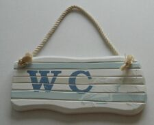 SHABBY CHIC WOODEN  WC SIGN  BATHROOM  NAUTICAL BEACH SEASIDE