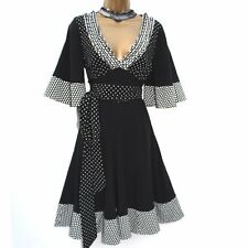 Karen Millen Black White 50's Polka Dot Kimono Sleeve Fit Flare Dress UK 10 EU38