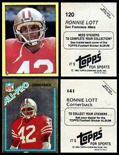 RONNIE LOTT ROOKIE YR. STICKERS - LOT OF 2 1982 # 120 & 141 - HOF S. F. 49ers CB
