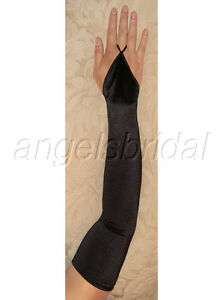"23"" Black Fingerless Stretch Satin Bridal Wedding Prom Evening Gown Opera Gloves"